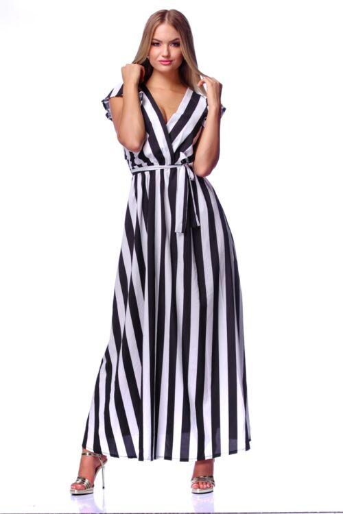 Csíkos midi ruha - Black White Stripe