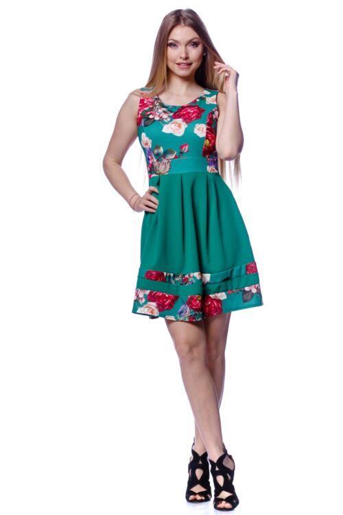 Mélyen Kerek nyakú virágmintás ruha - Green Floral Print