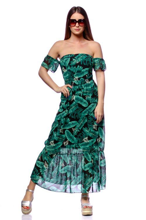 Vállnélküli maxi ruha - Green Floral Print