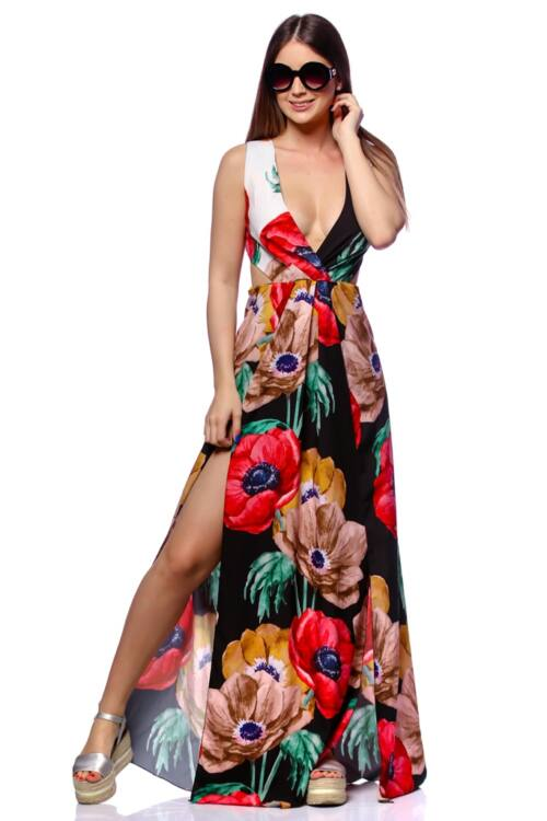Virágmintás maxi ruha - Black Floral Print