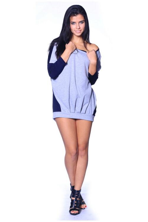 Ejtett vállú tunika - Dark Blue - Melange Grey