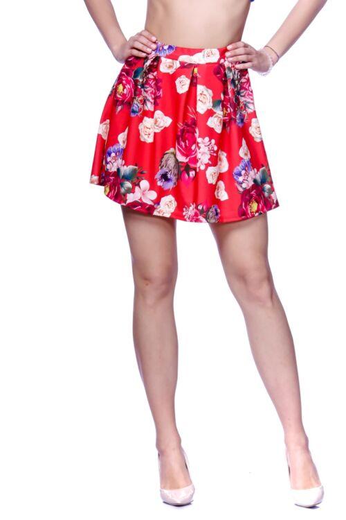 Rakott virágmintás mini szoknya - Red Floral Print