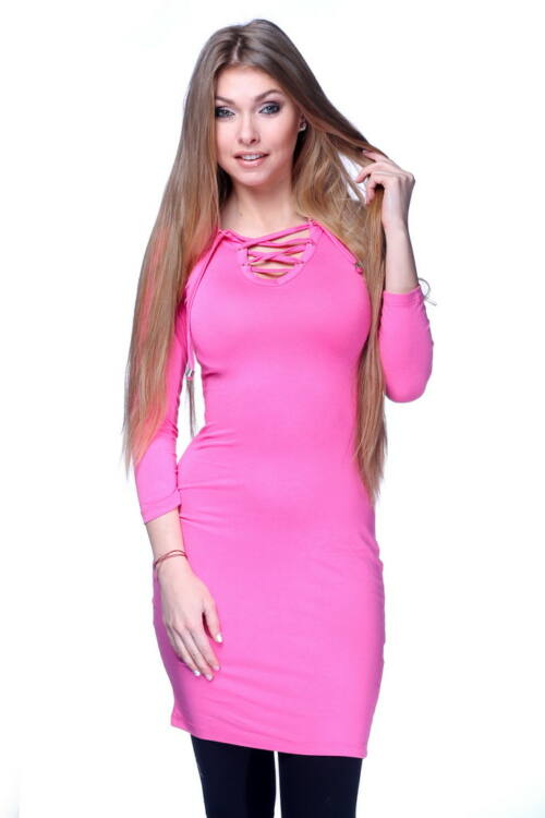 Fűzős Mini ruha - Hot Pink