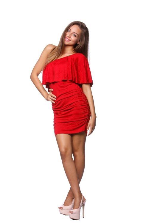 Félvállas fodross mini ruha - Red
