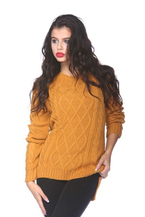 Kábel Kötött pulóver - Mustard