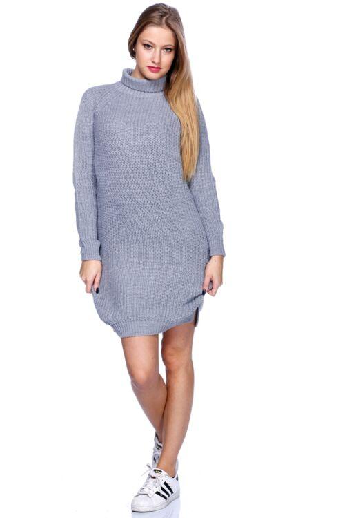 Félgarbó nyakú pulóver - Melange Grey