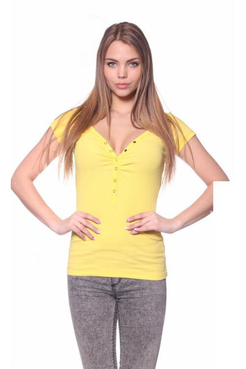 Patentos rövid ujjú felső - Yellow