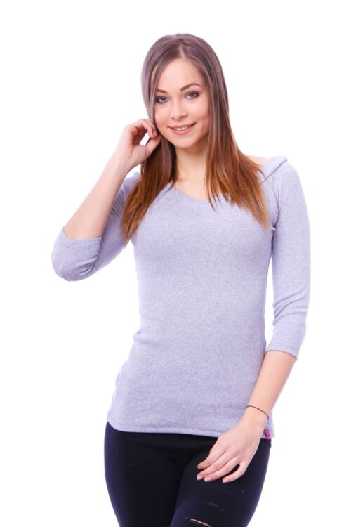 Vállra húzott bordás ruha - Melange Grey
