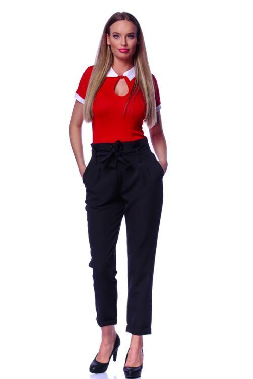 Kontraszt színű galléros póló - Red - White