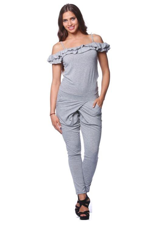 Dupla fodros pántos ruha - Melange Grey