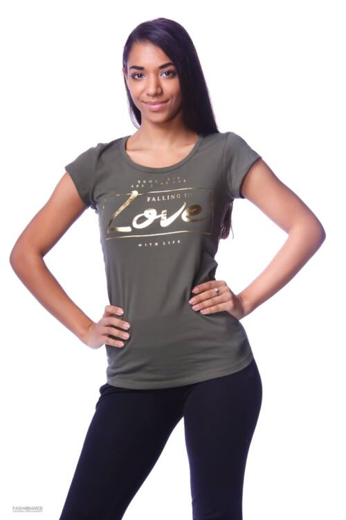 Nyomott mintás póló - Khaki
