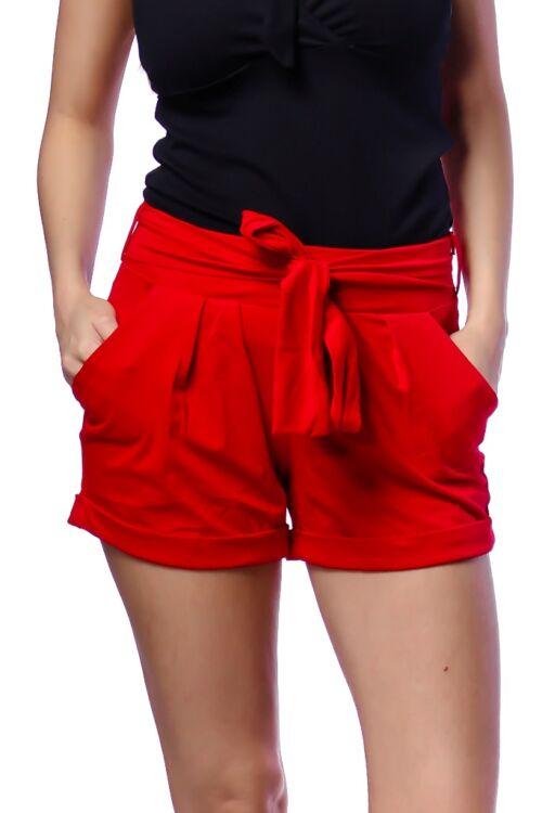 Megkötős, zsebes rövid nadrág - Red