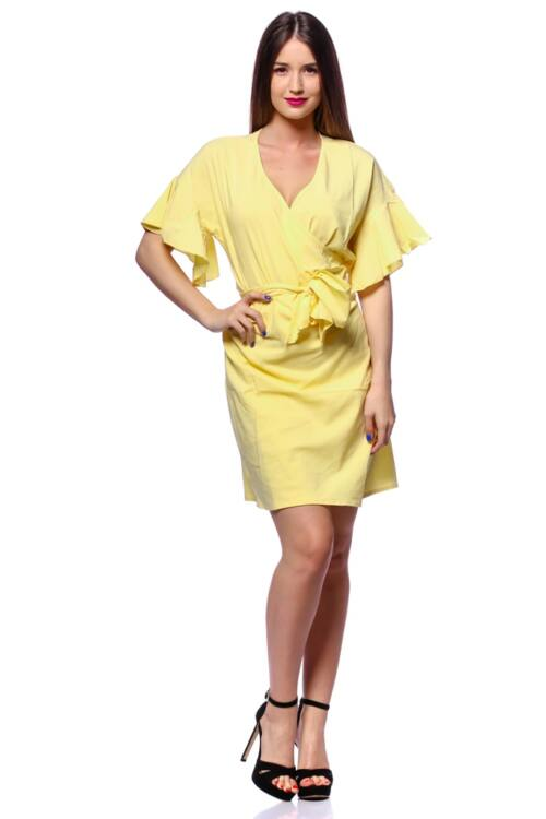 Tölcsér ujjú átlapolt mini ruha - Yellow