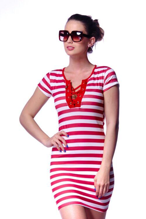 Csíkos fűzős mini ruha - White - Red - Red