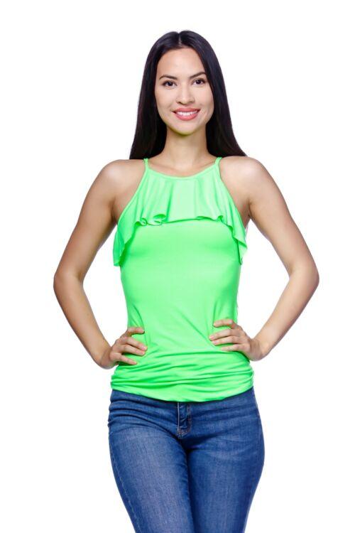 Fodros nyakú felső - Neon Green