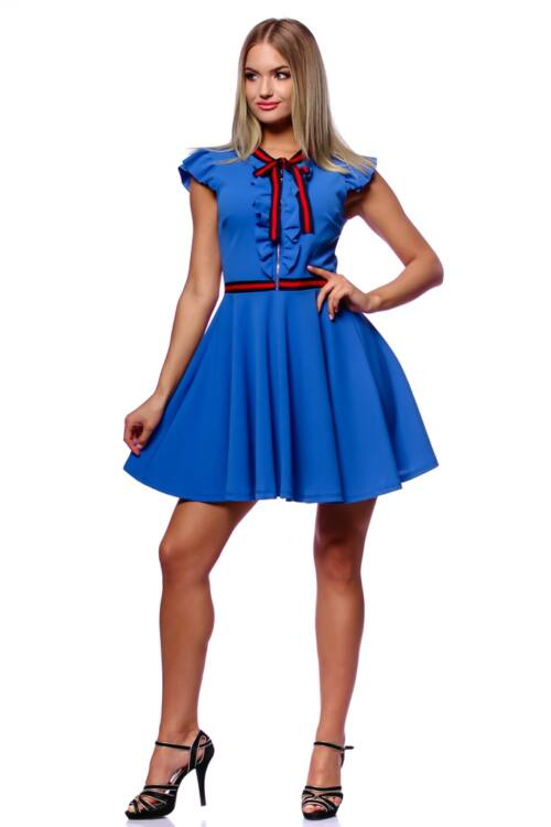 Fit And Flare Mini Dress With Ribbon - Rolyal Blue