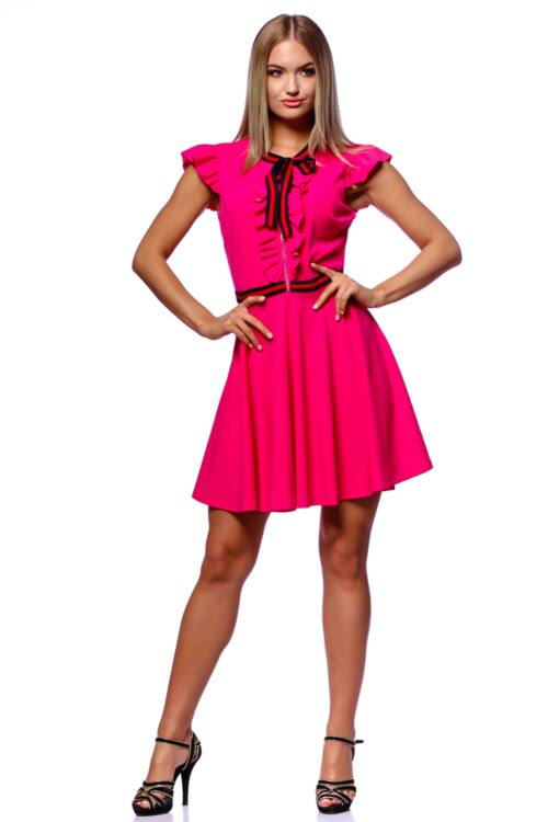 Fit And Flare Mini Dress With Ribbon - Hot Pink