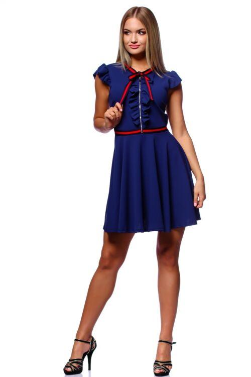 Fit And Flare Mini Dress With Ribbon - Denim Blue