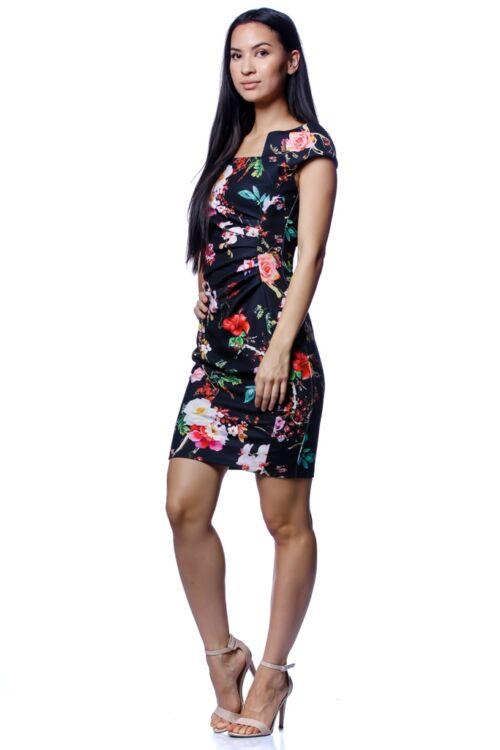 Virág mintás mini ruha - Black Floral Print