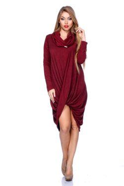 Csavart aljú mini ruha - Bordeaux