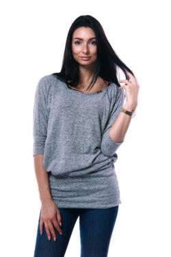 Nyomott mintás bő felső - Melange Grey