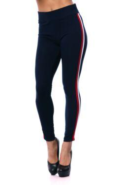 Oldalt csíkos legging - Dark Blue - Red