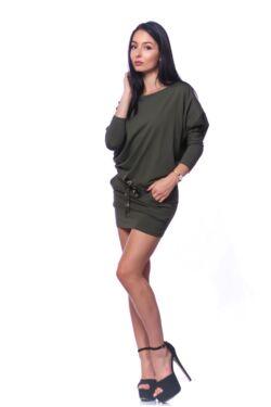Denevérujjú mini ruha - Khaki