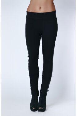 Bőrhatású oldalt csíkos legging - Black