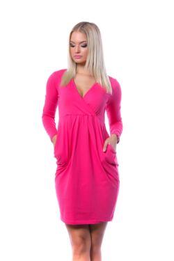 Átlapolt Mini Ruha - Hot Pink