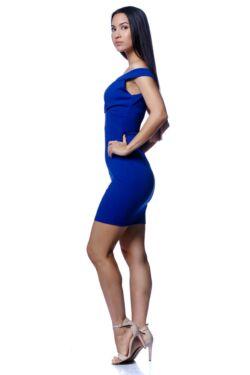 V nyakú átlapolt mini ruha - Rolyal Blue