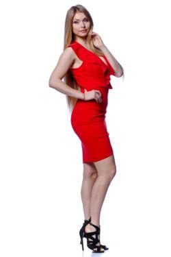 Fodros átlapos mini ruha - Red