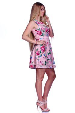 High Neck Tulle Detail Zipper Back Mini Dress