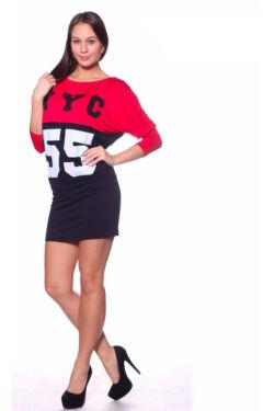 NY 55 kétszínű, denevér ujjú tunika - Black Red