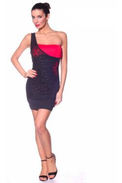 Csipkés, félvállas ruha - Black Red
