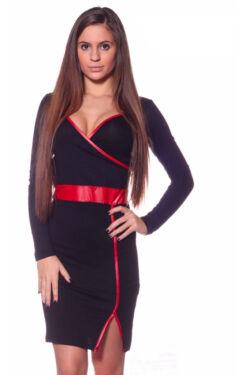 Bőrhatású szegéllyel díszitett,átlapolt ruha - Black Red