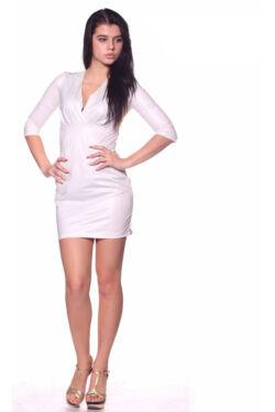 Átlapolt bőrruha - Cream
