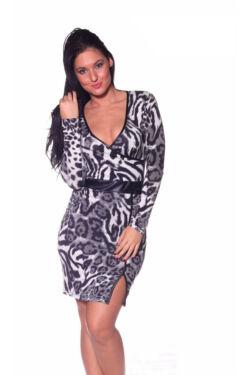Átlapolt,leopárd mintás ruha
