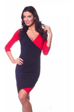 Kétféle anyaggal kombinált, átlapolt ruha - Black Red