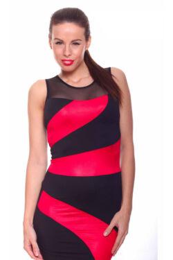 Tüllbetétes party ruha - Red Black