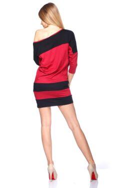 laza felső/Color Block oversize ruha - Bordeaux - Black