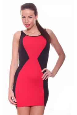 Kétszínű party ruha - Black Red