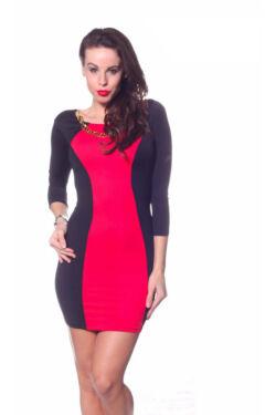 Lánccal díszitett, kétszínű ruha - Black Red