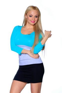 Több színből varrott miniruha /Color Block miniruha - Mint - Melange Grey - Black