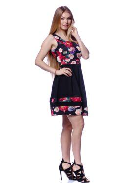 Mélyen Kerek nyakú virágmintás ruha - Black Floral Print