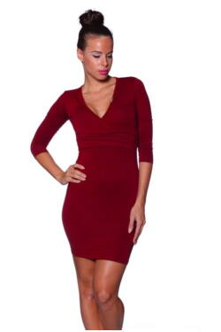 Átlapolt Mini Maxi ruha - Bordeaux