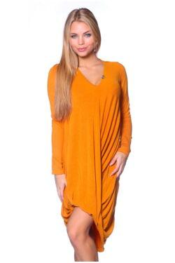 Ejtett nyakú midi ruha - Yellow