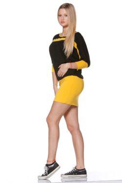 laza Color Block Felső - Yellow - Black
