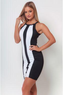 Több színből álló mini ruha /Color Block miniruha - Black - White
