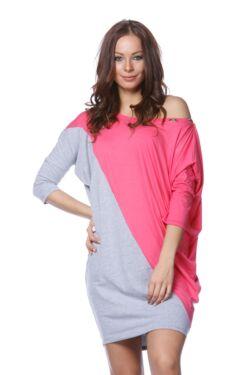 laza Color Block Felső - Melange Grey - Hot Pink