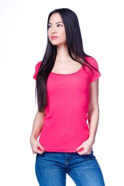 Csipke szegélyes felső - Hot Pink